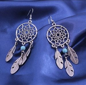 Jewelry - Silver Turquoise Feather Dreamcatcher Earrings